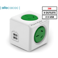 ALLOCACOC POWERCUBE Extended 4 Outlets with 2 USB 3M - Green