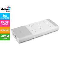 Aerocool iPower66 Aluminium Powerboard w/6 Outlet Surge Protector and 6 USB Port Fast Charger