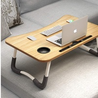 BOOC Laptop Desk Bed Table Tray, Lap Desk Bed Table for Breakfast Serving Tray, Notebook Table with Tablet Slots and Cup Holder for Couch Floor