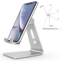 BOOC Adjustable Cell Phone Stand, Aluminum Desktop Cellphone Stand with Anti-Slip Base and Convenient Charging Port, Fits All Smart Phones Silver