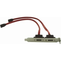 eSATA Bracket Dual Port with Cable Supports SATA I & II